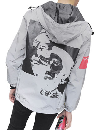 Picture of Men's Trench Coat Cozy Print Zipper Long Sleeve Hooded Casual Coat