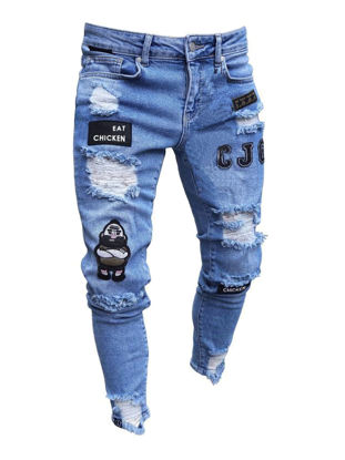 Picture of Men's Jeans Frayed Decoration Letter Pattern Mid Waist Jeans