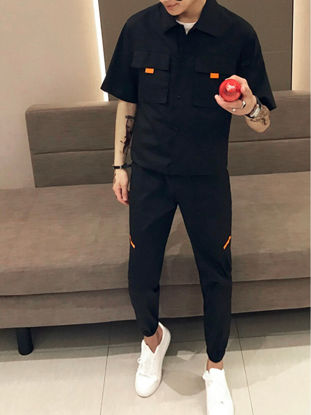Picture of Men's 2Pcs Short Sleeve Shirt Cropped Casual Pants