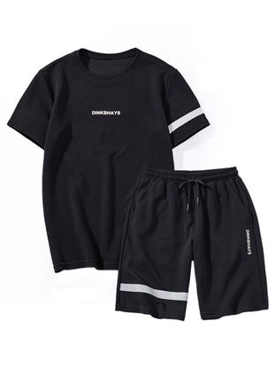Picture of Men's 2Pcs Clothes Set Short Sleeve T-shirt Running Shorts Set