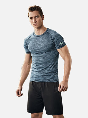 Picture of Men's 2 Pcs Sports Shorts Set Breathable O Neck Short Sleeve T Shirt Shorts Set