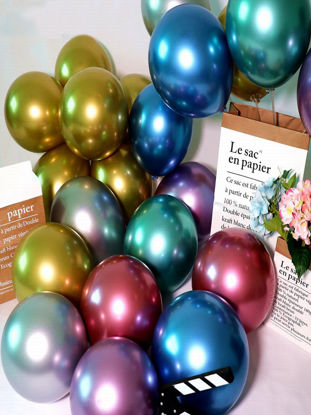 Picture of 50 Pcs Balloons Solid Color Party Wedding Decorative Supplies