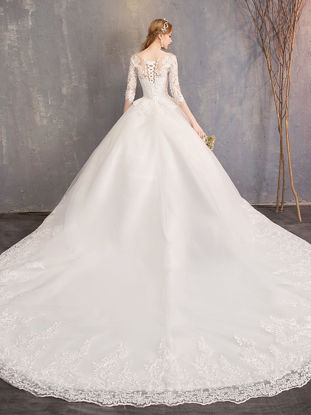 Picture of Women's Wedding Dress Solid Color Hollow Out Maxi Long Dress