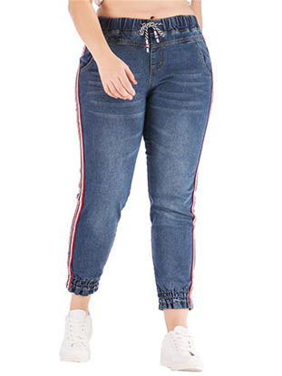 Picture of Women's Jeans Fashion Solid Patchwork High Waist Casual Pants