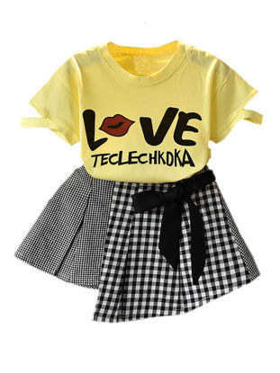 Picture of Girl's 2 Pcs Skirt Set O Neck Short Sleeve Print Top Cozy All Match Set