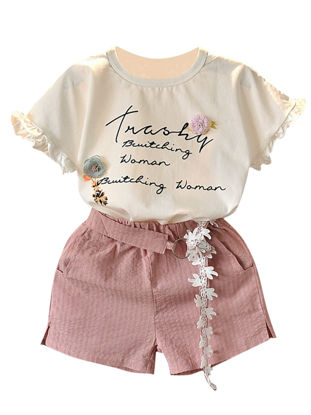 Picture of Girls 2 Pcs Shorts Set Embroidery Ruffles Short Sleeve Comfy Suit