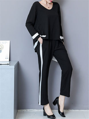 Picture of Women's 2Pcs Trousers Set Long Sleeve Pullover Sweater Fashion Straight Pants Suit
