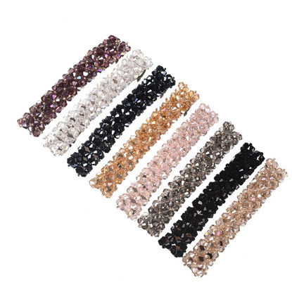 Picture of 5 Pcs Women's Hair Clips Set Solid Color DIY Shiny Rhinestone Design Hair Accessories