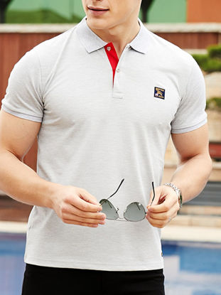 Picture of Men's Polo Shirt Turn Down Collar Short Sleeve Appliques Decoration Top