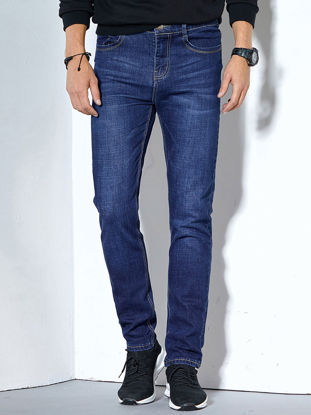 Picture of Men's Loose Jeans Fashion All Match Straight Stretchy Breathable Denim Jeans