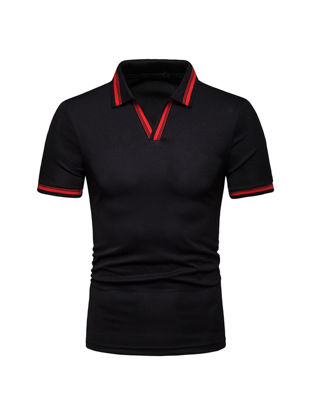 Picture of Men's Polo Shirt Short Sleeve Turn Down Collar Slim Breathable Top