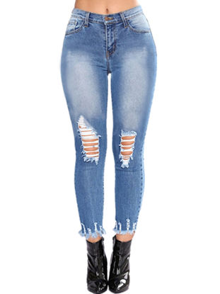 Picture of Women's Jeans Holes Decoration Ladylike Personalized Faddish Pants