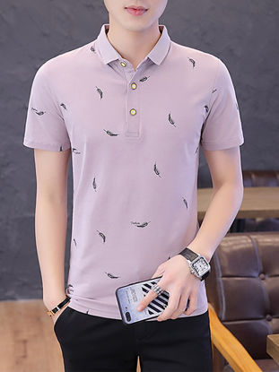 Picture of Men's Polo Shirt Print Short Sleeve Casual Top
