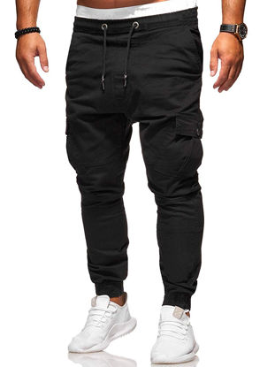 Picture of Men's Casual Pants Fashion Ankle-Tied Solid Color Pants