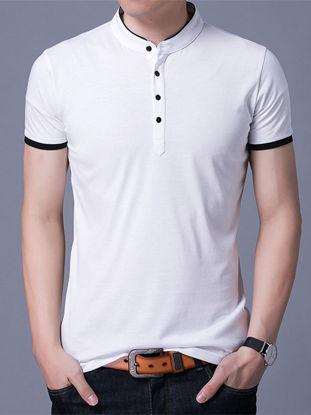 Picture of Men's Polo Shirt Cotton Blends Short Sleeve Casual Cozy Polo Shirt