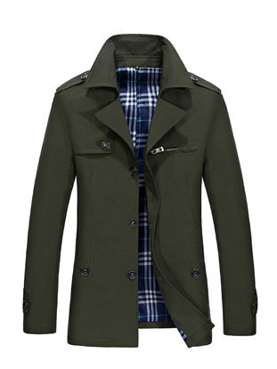 Picture of Men's Trench Coat Solid Color Single Breasted Mid Long Style Coat