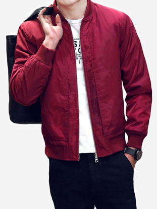 Picture of Men's Casual Jacket Stand Collar Long Sleeve Solid Color Jacket