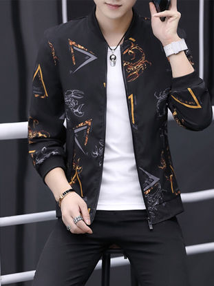 Picture of Tonlion Men's Casual Jacket Printed Long Sleeve Loose Jacket