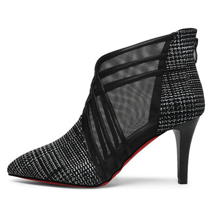 Picture of Women's Ankle Boots Pointed Toe Solid Color Mesh Design Thin Heel Shoes