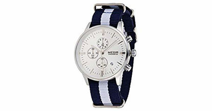 Picture of Megir Men's Silver Dial Fabric Band Chronograph Watch - SL2011-A