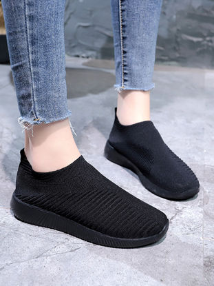 صورة Women's Loafers Solid Color Comfy Casual Style Flyknit Breathable Shoes  42
