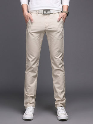 صورة Men's Straight Leg Pants Solid Color Breathable Comfy Casual Pants  33