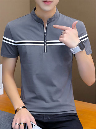 Picture of Men's T Shirt Stand Collar Short Sleeve Striped Pattern Top M