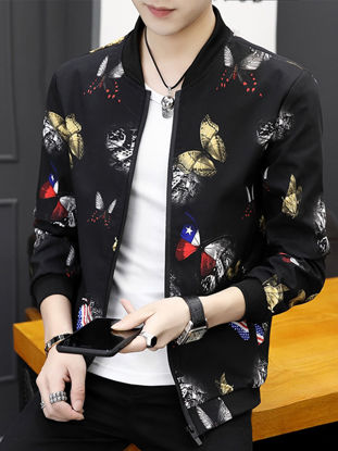 Picture of Men's Casual Jacket Print Long Sleeve Stand Collar Fashion Jacket 3XL
