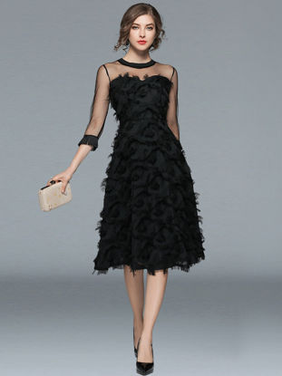 Picture of Women's Dress Elegant Pure Color Hollow Out Half Sleeve Feather Decor Dress