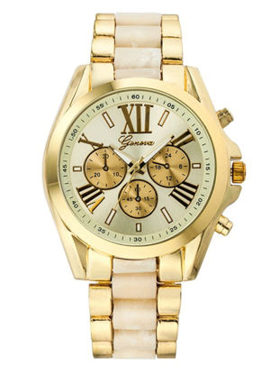 Picture of Geneva Men's Watches Roma Number Display Alloy Color Block Wide Straps Fashion Watches