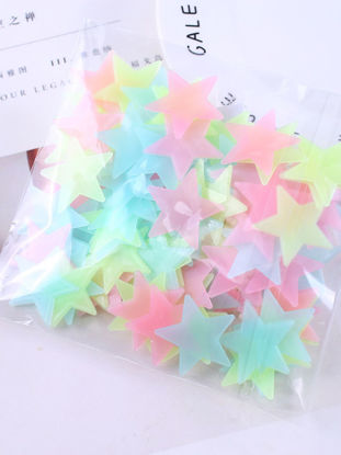 Picture of 100Pcs Wall Stickers Cartoon 3D Stars Design Luminous Stickers
