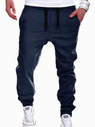 Picture of Men's Casual Pants Plus Size Solid Color Drawstring Waist Ankle Tied Pants
