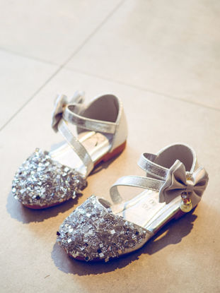 Picture of Girl's Sandals Sequins Pattern Anti Skidding Bow Velcro Girl's Shoes
