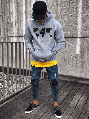 Picture of Men's Jeans Hole Zip Decoration Fashion Mens Clothing