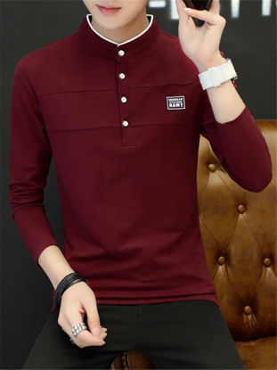 Picture of Men's T Shirt Stand Collar Casual Slim Long Sleeve T Shirt