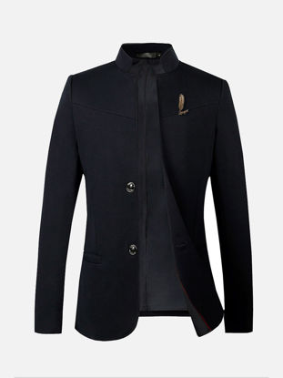 Picture of Men's Blazer Stand Collar Long Sleeve Solid Color Slim Blazer