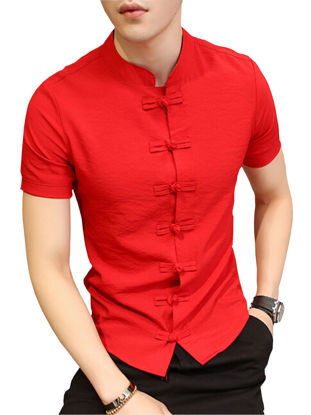 Picture of Men's Traditional Short Sleeve Short Single Frog Breasted Casual Slim Shirt