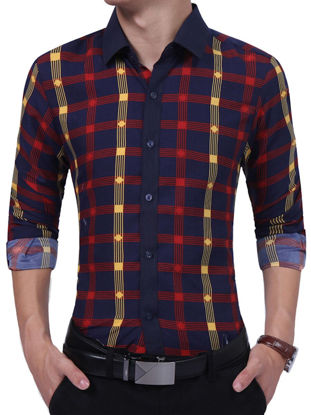 Picture of Men's Shirt Plaid Pattern Long Sleeve Color Block Casual Shirt