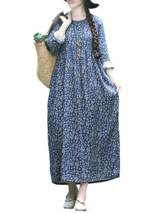 Picture of Women's Dress Long Sleeve O Neck Floral Pattern Loose Maxi Long Dress