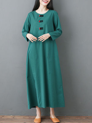 Picture of Women's Aline Dress Loose O Neck Embroidery Dress