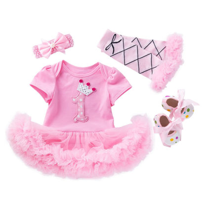 Picture of YK&Loving 4Pcs Baby's Party Costume Short Sleeve Tulle Tutu Dress Calf Sleeve Headband And Shoes Set