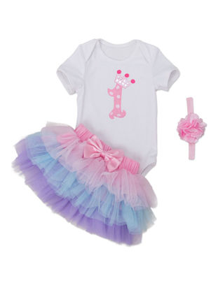 Picture of Baby Girl's Skirt Set 3 Pcs Headband Bodysuit Baby Clothes