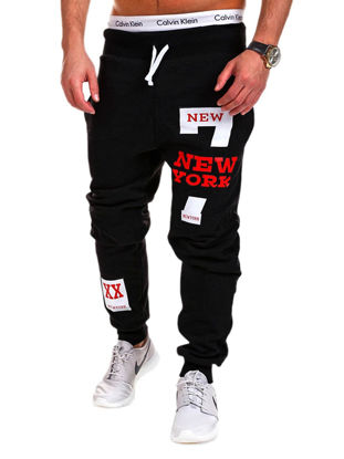 Picture of Men's Sports Pants Elastic Waist Drawstring Letter Pattern Athletic Pants