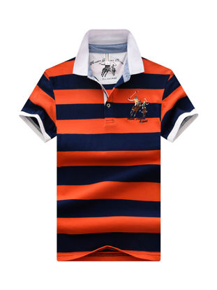 Picture of Men's Polo Shirt Letter Print Striped Top