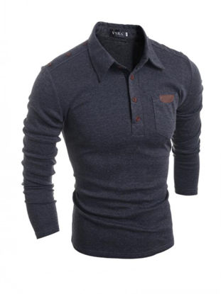 Picture of Men's Polo Shirt Long Sleeve Retro Solid Color Casual Shirt