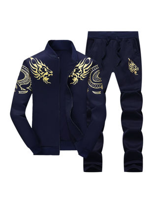 Picture of Men's 2 Pcs Pants Set Stand Collar Long Sleeve Casual Jacket Sports Pants Set