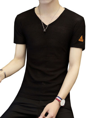 Picture of Men's Hollow Out T-Shirt Breathable Casual V Neck Short Sleeve Top