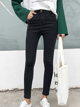 Picture of Women's Jeans Solid Color High Waist Skinny Denim Pants