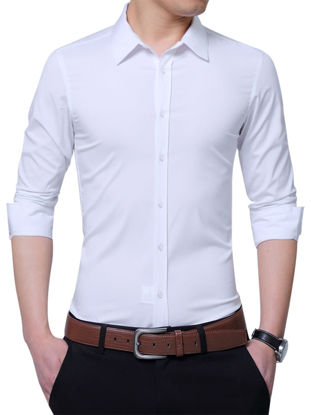 Picture of Zhuowolves Men's Solid Long Sleeve Shirt Single Breasted Slim Business Shirt