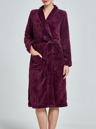 Picture of Women's Sleepwear Solid Color Elegant Turn Down Collar Long Sleeve Flannel Robe